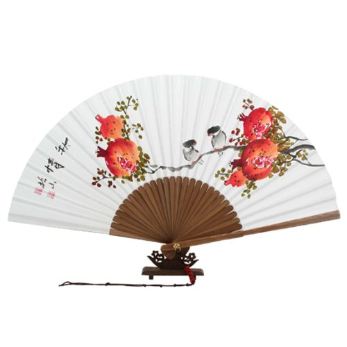 Hand Painted Folding Red Pomegranate and Bird Painting White Paper Bamboo Wooden Asian Oriental Wall Deco Korean Handheld Decorative Fan