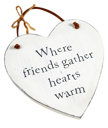 Heartwarmers Wooden Heart Keepsake Gift Sign/ Plaque, Friends Gather