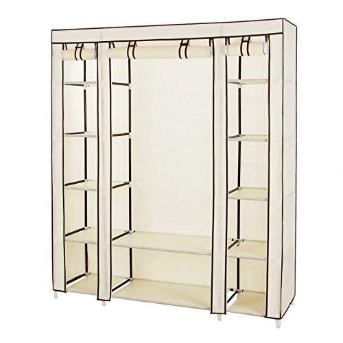 songmics-59-portable-clothes-closet-wardrobe-non-woven-fabric-storage-organizer-with-shelves-beige-u