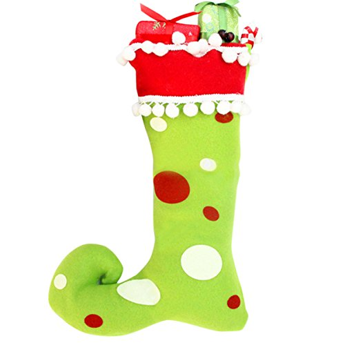 Adorrable Elf Christmas Stockings Long Plush Polka Dot Christmas Decorations, Green, 7x10.6x15inch