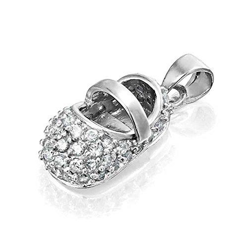 Bling Jewelry Moonstone Color Cz Baby Shoe Charm Silver Pendant June Birthstone