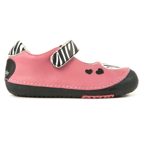 9a89f454ddf99 Momo Baby Girls First Walker Toddler Zebra Hearts Mary Jane Leather Shoes