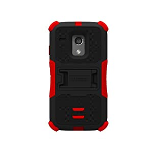 Beyond Cell Tri-Shield Durable Hybrid Hard Shell & Silicone Gel Case for Motorola Moto G XT1032 - Black/Red -White/Light Blue