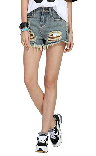 Buankoxy Women's Distressed Cut off Ripped Jeans Denim Shorts Gray Blue(M) Blue Cut Off Short