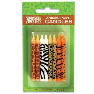 24 pc Safari Wild Animal Print Birthday Cake Candles - 1