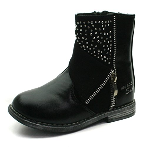 MS014 Miss Sixty Girls High Zipup Baby Boot with Studding Detail >> Stivaletti media altezza con zip laterale e borchie, Nero, 27