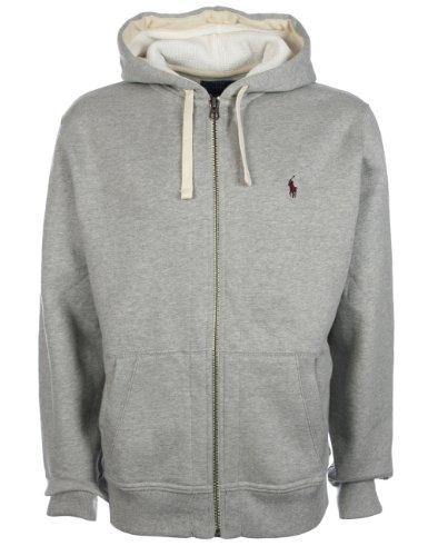 Ralph Lauren Mens Fleece Lined Hoodie Light Grey ,Size: Small