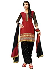 Desi Look Women's Embroidered Red Cotton Dress Material With Dupatta