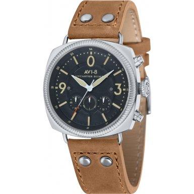 AVI-8 AV-4022-02 Mens Lancaster Bomber Beige Leather Strap Watch