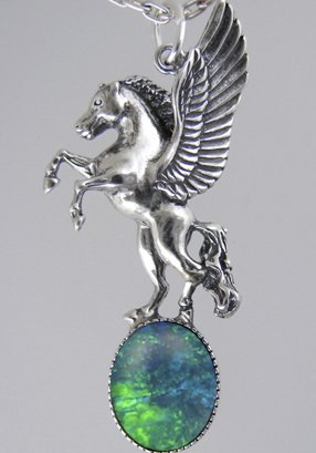 Unicorn Of The Summer Day In Silver With Opal Triplet Moonstone ...Jewelry Made In America