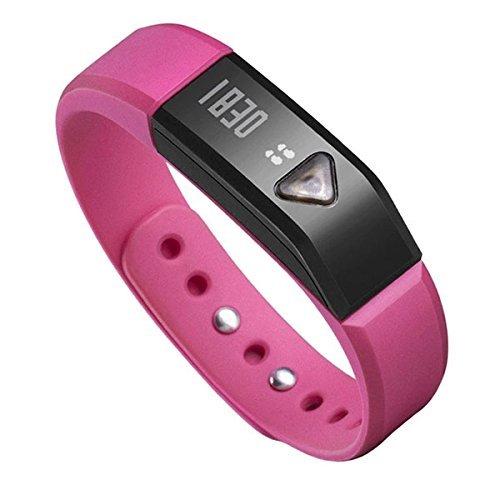 EFO-S Pink K5 Wireless Activity and Sleep Monitor Pedometer Smart Fitness Tracker Wristband Watch Bracelet for Men Women Boys Girls Ladies Man iPhone Sumsung HTC (Pink)