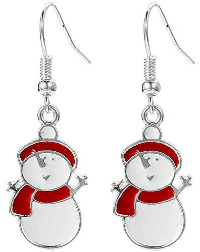 Charm Buddy Happy Snowman Dangle Dangly Earrings