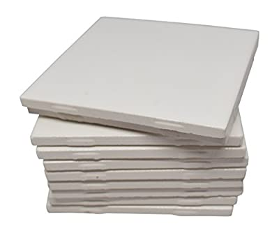 Glossy White Ceramic Tiles 4 1/4 By 4 1/4 Each Plus Guide for Tile Crafts (Set of 10)