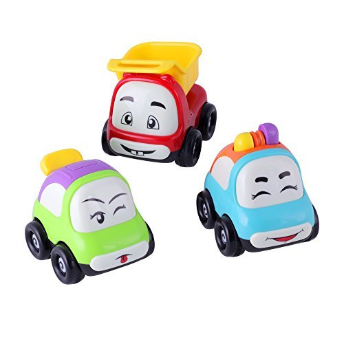 KAWO (Set of 3) Push and Go Friction Powered Car Toys Mini Smile face Truck Sport Car Police Car - Great Gift Toys for Boys