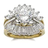 CZ Wedding Rings - Two Tone CZ Engagement Ring with Wedding Ring Guard