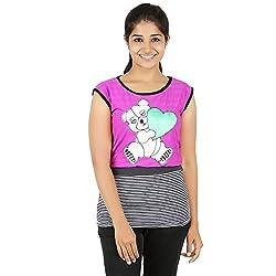Knit Abc Garments Women's Character Top(KA-WTOP-HTG-14-BL-PN-L_Multicolor_Large)