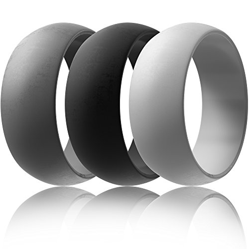Silicone Wedding Rings, Men's True Pal for Active Guys | 3Pack: Black, Gray, Dark Gray w/ eBook (12)