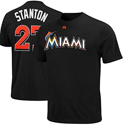 MLB Majestic Giancarlo Stanton Miami Marlins #27 Player T-Shirt - Black