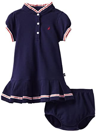 Nautica Baby-girls Infant Pique Polo Dress, Medium Navy, 12 Months