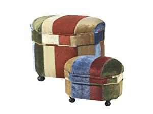 Midwest 2pc Storage Ottoman and Footstool Set in Multi Color Velvet