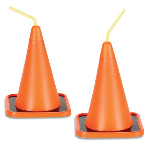 Construction Party Supplies - Traffic Cone Sippy Cups (8) (Construction Cone Party compare prices)
