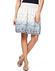 Indigo Collection Pure Cotton Broderie & Floral Skirt