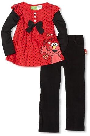 Sesame Street Little Girls' Elmo 2 Piece Pant Set, Red, 2T