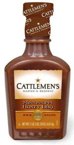 Cattlemen's Master's Reserve Mississippi Honey BBQ Sauce, 18-Ounce Plastic Bottles (Pack of 6)