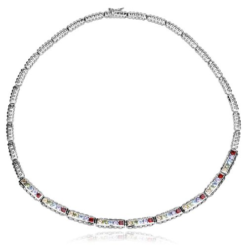 Sterling Silver Multi-Gemstone Necklace, 17