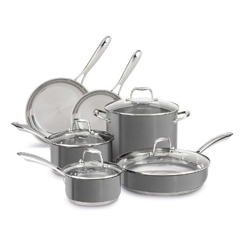 KitchenAid Liquid Graphite 10-pc. Stainless Steel Cookware Set
