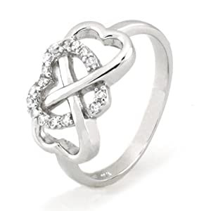 925 Sterling Silver Cubic Zirconia Infinity & Heart Symbol CZ Wedding Band Ring, Limited time offer at special price (7) by Metal Factory