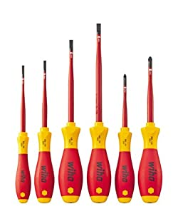 wiha vde slotted phillips slim fix screwdriver set 6 pieces diy tools. Black Bedroom Furniture Sets. Home Design Ideas