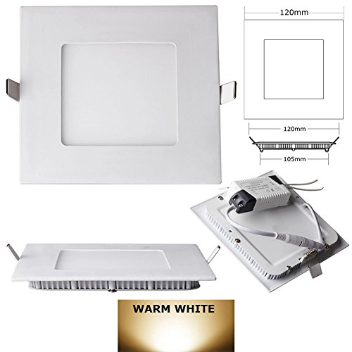 9W Square Dimmable Led Recessed Ceiling Panel Down Lights With Driver - Warm White 2700K-3200K (4 Pack)