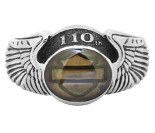 Harley-Davidson Womens .925 Silver 110th Anniversary Double Wing Ring w/ Topaz Cabachon Ring (8)