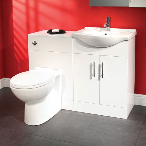 Better Bathrooms - Set di mobile e WC per bagno privato, design bianco moderno (reversibile), con lavandino in ceramica, attacco a muro, chiusura sedile morbida, con armadietto lucido (dimensioni lavandino: larghezza 550 mm, proiezione 430 mm; armadietto:
