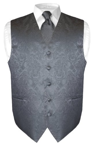 Men's Paisley Design Dress Vest NeckTie CHARCOAL GREY Neck Tie Set