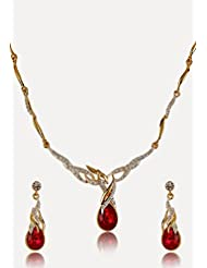 Estelle Gold Plated Necklace Set With Crystals For Women - B00NAX5OEQ