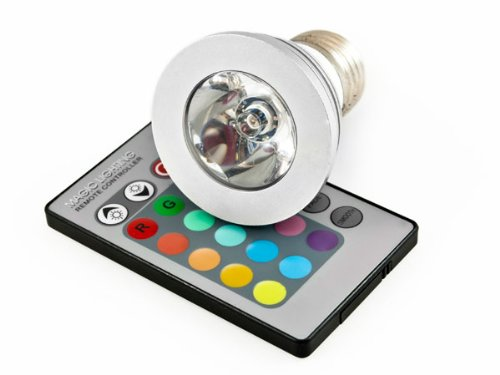 Multi Color Led Home Decor Ceiling Lamp Light Bulb 3W E27 Remote Control Rgb Led Bulb Light Lamp 16 Different Colors + Fading Functions - On/Off