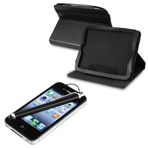 Black Leather Case + Touch Screen Stylus For HP TouchPad