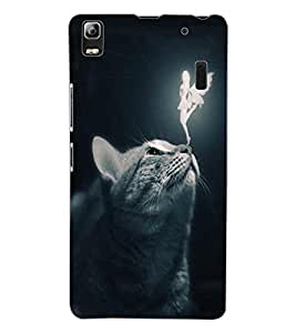 ColourCraft Angel and Cat Design Back Case Cover for LENOVO A7000 PLUS