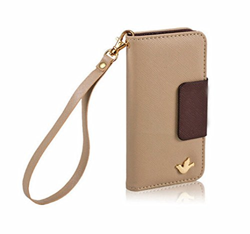 Mylife (Tm) Mocha Brown {Glamorous Design} Faux Leather (Card, Cash And Id Holder + Magnetic Closing + Hand Strap) Slim Wallet For The Iphone 5C Smartphone By Apple (External Textured Synthetic Leather With Magnetic Clip + Internal Secure Snap In Hard Rub