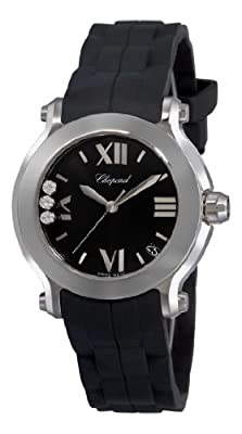 Chopard Women's 278475-3014 Happy Sport Round Diamond Black Dial Watch