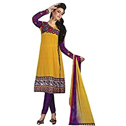 KALYANNAM YELLOW Georgatte embroidery DRESS MATERIALS