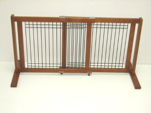 Crown 21-Inch Freestanding Pet Gate, Wood/Wire With Chestnut Finish, Small Span front-9072