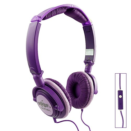 Qulmax ® Mediacom SmartPad 10.1 HD iPro111 / Mediacom SmartPad i10 3G Tablet Lila Faltbare Rotating HD Kopfhörer (HSQ09) mit Mikrofon und Fernbedienung