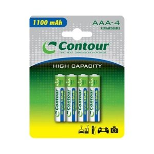 Contour 1100mAh 4 x AAA NiMH Rechargeable Batteries