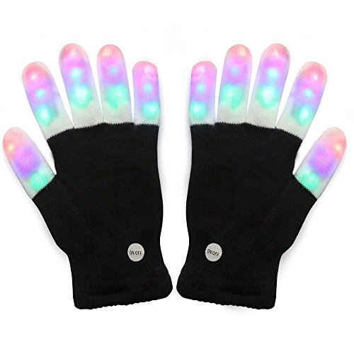 #1 Premium Led Lighting Gloves, Flashing Fingers Emazing Lights, Rave Gloves, Colorful Party Dance Gloves, Birthday, Edm, Disco, Dubstep Party, 6 Light Flashing Modes (Black - Lighting Fingers)