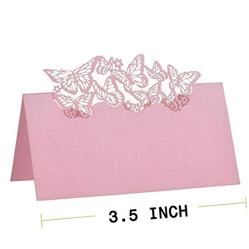 Lot de 50pcs Marque Place Papillon Ajouré Décoration de Table - Rose