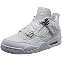 Nike Air Jordan Men's Retro 4 Shoes (White / Metallic Silver-Pure Platinum)
