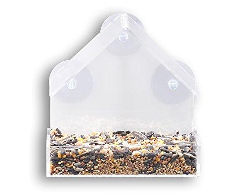 GrayBunny GB-6842 Window Bird Feeder, Clear Thick Acrylic Acrylic Outdoor Post Mounted Lantern